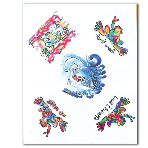 Fun stuff peace frogs surf assortment tattoo positively peaceful