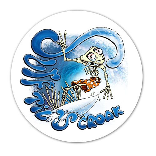Peace Frogs Glow Surf Till You Croak Static Sticker