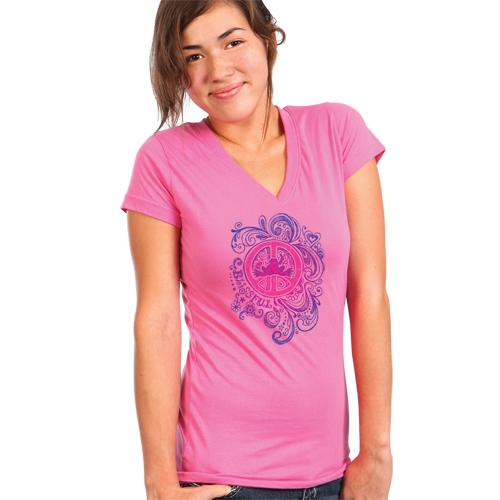 Peace Frogs Junior Blissful V-Neck Short Sleeve T-Shirt
