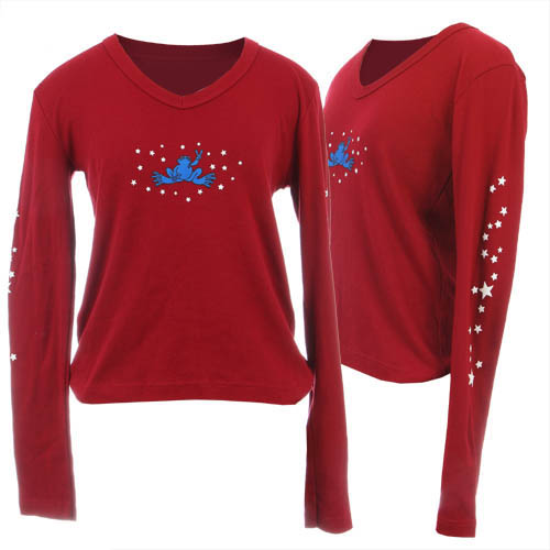 Peace Frogs Junior Maroon Stars V-Neck Long Sleeve T-Shirt