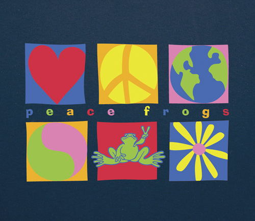 Peace Frogs Adult Symbols Short Sleeve T-Shirt
