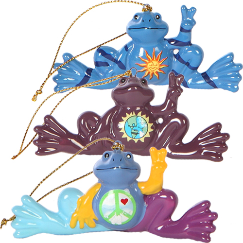 Peace Frogs Believe, Imagine, Celestial 3 Piece Ornament Set