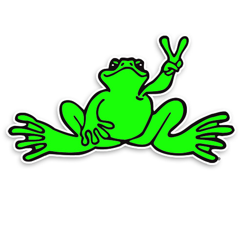 Stickers peace frogs small neon frog sticker positively peaceful