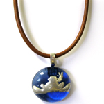 Peace Frogs Glass Metal Frog Light Brown Cord Necklace