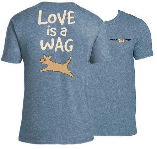 Love Is A Wag Peace Dogs Short Sleeve Garment Dye T-Shirt