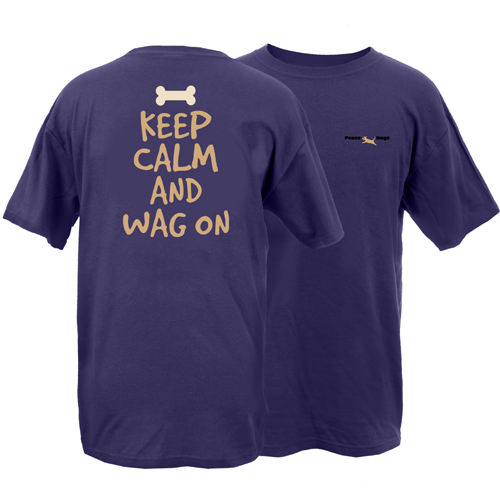 Keep Calm Wag On Peace Dogs Short Sleeve Garment Dye T-Shirt