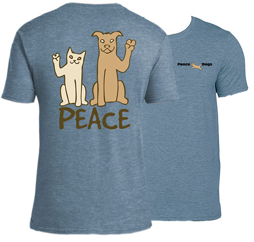 Peace Cat and Dog Peace Dogs Short Sleeve Garment Dye T-Shirt