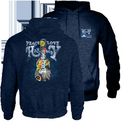 Peace Frogs Guitar Case Garment Dye Hood Pullover Sweatshirt