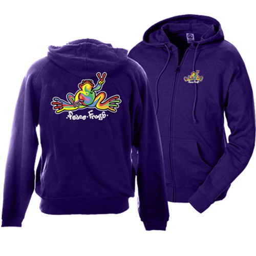 Peace Frogs Retro Full Zip French Terry Hood Adult Sweatshirt
