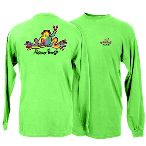 Peace Frogs Retro Frog Adult Garment Dye Long Sleeve T-Shirt