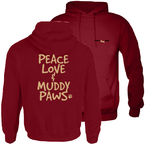 Muddy Paws Peace Dog Hood Pullover Sweatshirt