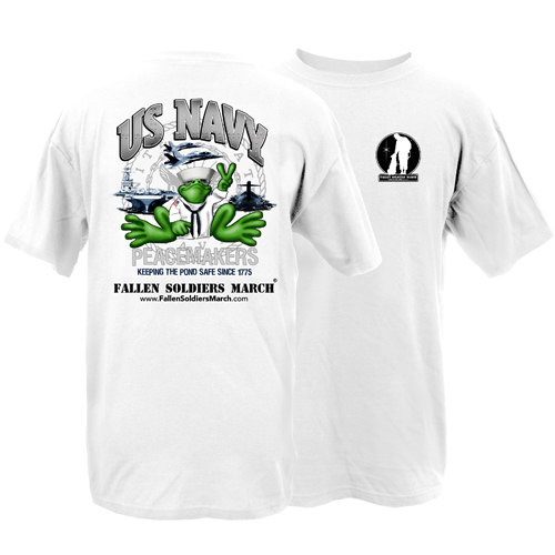 Fallen Soldiers March US Navy Frog Adult Short Sleeve T-Shirt