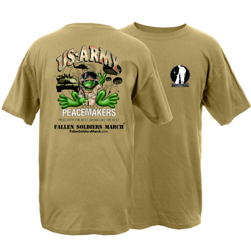 Fallen Soldiers March US Army Frog Adult Short Sleeve T-Shirt