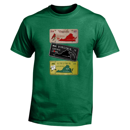 Beyond The Pond Adult Virginia Plates Short Sleeve T-Shirt