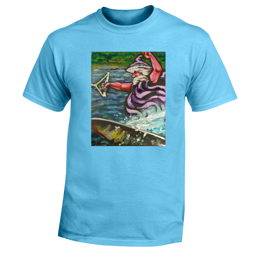 Beyond The Pond Adult Water Skier Wizard Short Sleeve T-Shirt