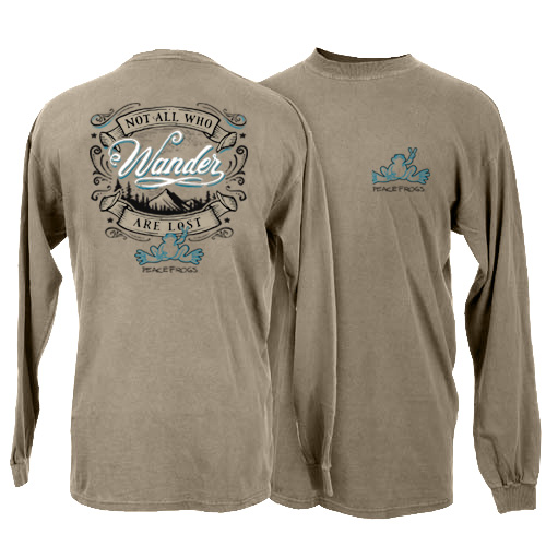 Peace Frogs Wander Adult Long Sleeve T-Shirt