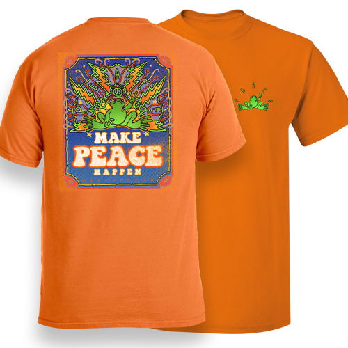 Peace Frogs Adult Make Peace Happen Frog Garment Dye Short Sleeve T-Shirt