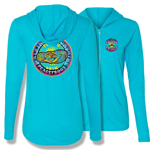 Peace Frogs Walking on Sunshine Adult Ladies Full Zipper Hood Sweatshirt
