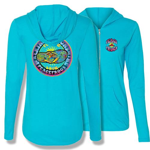 Peace Frogs Walking on Sunshine Adult Ladies Full Zipper Hood Sweatshirt