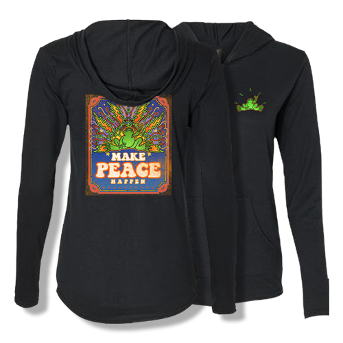 Peace Frogs Make Peace Happen Adult Ladies Full Zipper Hood Sweatshirt