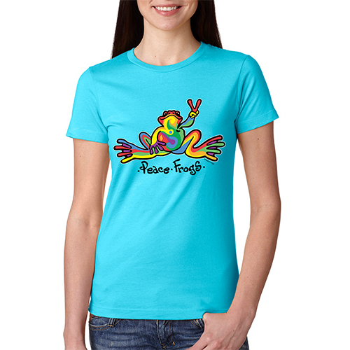 Peace Frogs Ladies Retro Short Sleeve T-Shirt