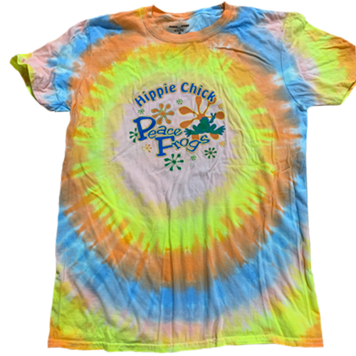 Peace Frogs Hippie Chick Frog Tie Dye Burst Short Sleeve T-Shirt