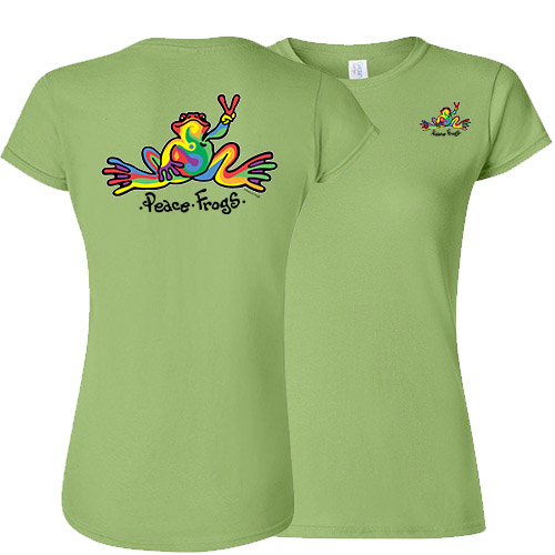 Peace Frogs Ladies Retro Frog Short Sleeve T-Shirt