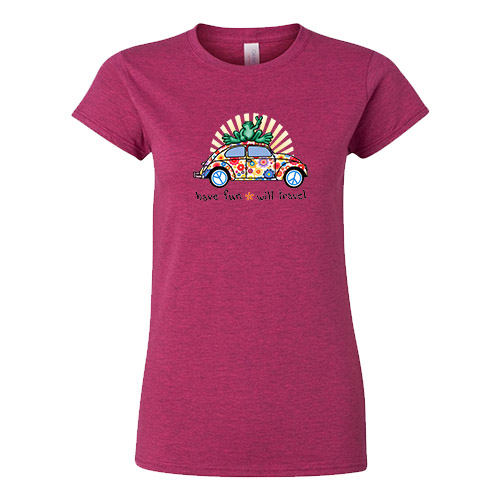Peace Frogs Ladies VW Bug Frog Short Sleeve T-Shirt