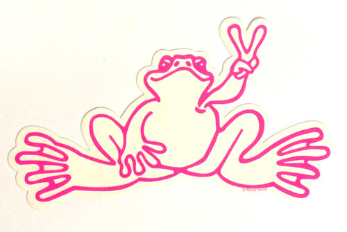 Peace Frogs Sm Hot Pink Sticker