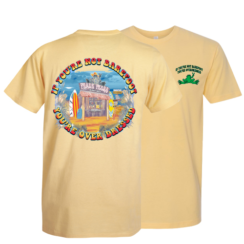 Peace Frogs Adult Barefoot Beach Shack Garment Dye Short Sleeve T-Shirt