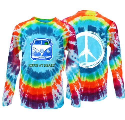 Hippie at Heart Frog Burst Tie Dye Long Sleeve T-Shirt