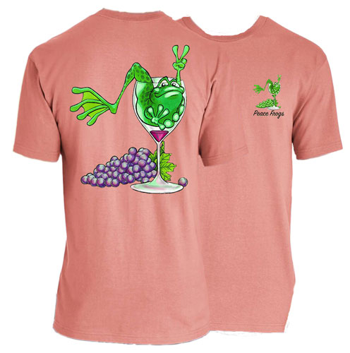 Peace Frogs Adult Wine Frog Short Sleeve T-Shirt