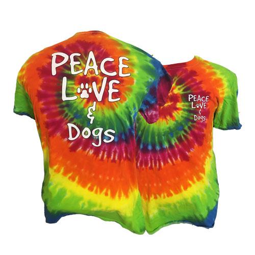 Peace Love Dogs Tie Dye Short Sleeve T-Shirt