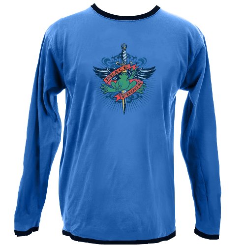 Peace Frogs Junior Tattoo Ringer Long Sleeve T-Shirt