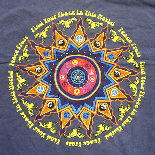 Peace Frogs Adult Myan Calendar Garment Dye Short Sleeve T-Shirt