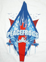 Peace Frogs Adult White Flaming Board Short Sleeve T-Shirt
