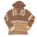 Peace Frogs Junior Brown Vneck Wool Sweater