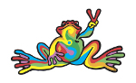 Peace Frogs Large Retro Sticker