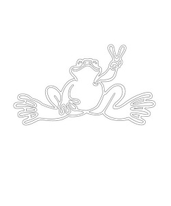 Peace Frogs Small Outline Sticker