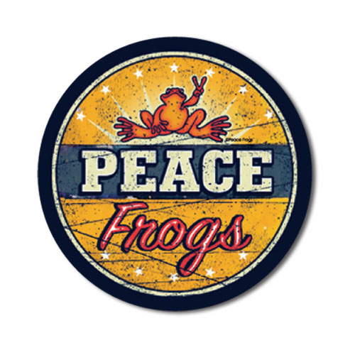 Peace Frogs Vintage Sign Sticker