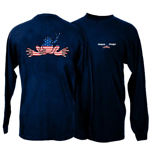 Peace Frogs Navy USA Kids Long Sleeve T-Shirt