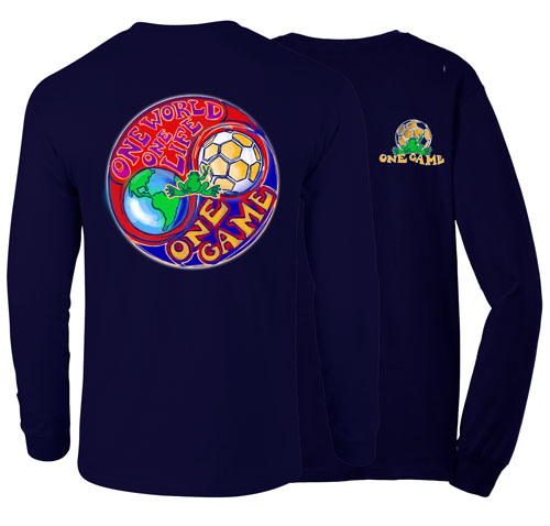 Peace Frogs One World Soccer Adult Long Sleeve T-Shirt