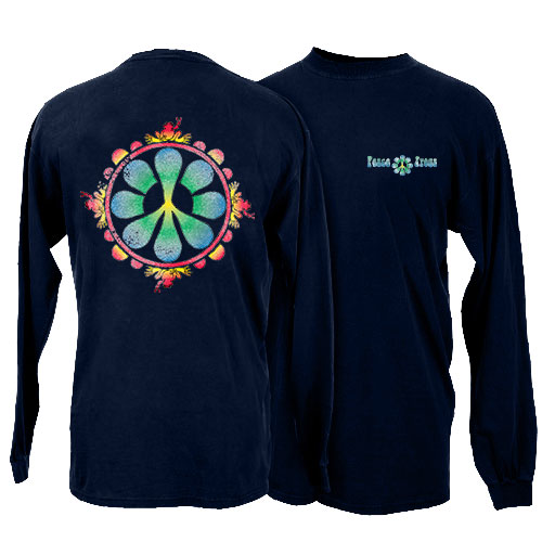 Peace Frogs Peace Flower Adult Long Sleeve T-Shirt