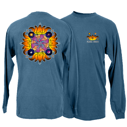 Peace Frogs Crazy Lotus Adult Long Sleeve T-Shirt