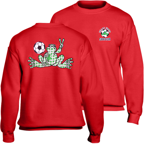 Peace Frogs Red Soccer Embroidered Adult Crewneck Sweatshirt