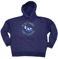 Peace Frogs Navy Cheerleading Printed Adult Hooded Pullover Sweatshirt