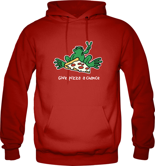 Peace Frogs Give Pizza A Chance Printed Adult Hooded Pullover Sweatshirt