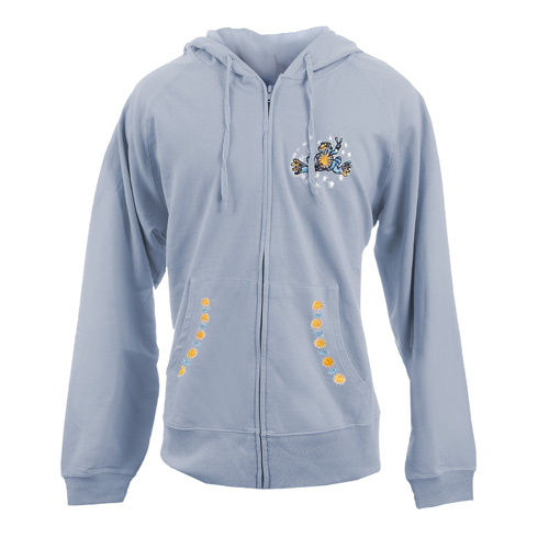 Peace Frogs Night And Day Embroidered Adult French Terry Full Zip Hooded Sweatshirt