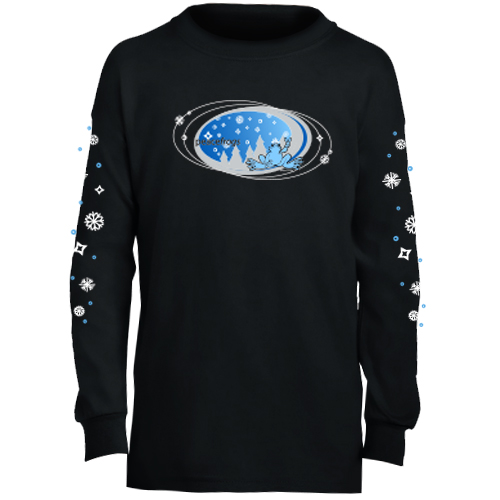 Peace Frogs Black Snowflake Oval Long Sleeve Kids T-Shirt