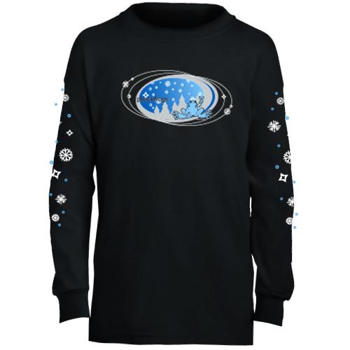 Peace Frogs Black Snowflake Oval Long Sleeve Kids T-Shirt